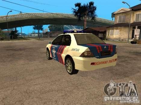 Mitsubishi Lancer Police Indonesia для GTA San Andreas вид слева