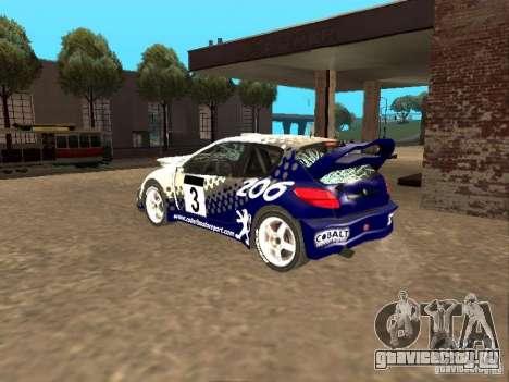 Peugeot 206 WRC из Richard Burns Rally для GTA San Andreas вид сверху