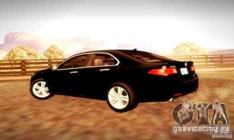 Acura TSX V6 для GTA San Andreas вид изнутри