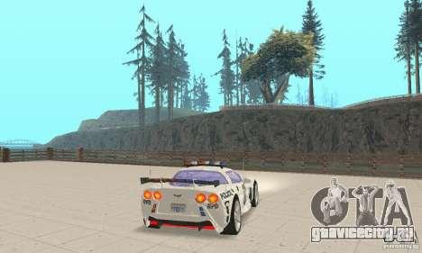Chevrolet Corvette C6 Police Сержант Кросс NFSMW для GTA San Andreas вид сзади слева