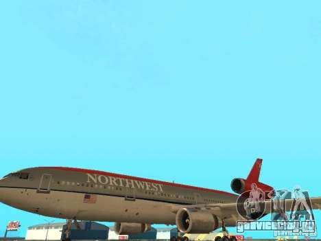 McDonell Douglas DC 10 Nortwest Airlines для GTA San Andreas вид сбоку