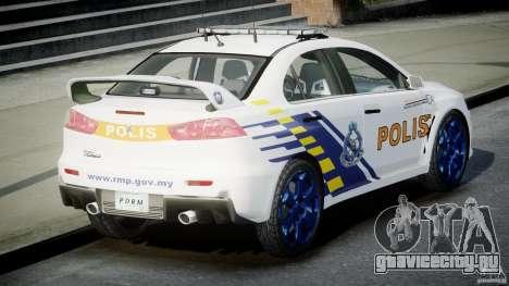 Mitsubishi Evolution X Police Car [ELS] для GTA 4 вид сзади слева
