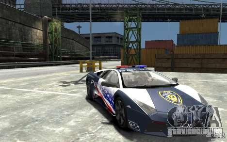Lamborghini Reventon Police Stinger Version для GTA 4 вид сзади