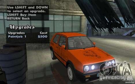 VW Golf Mk2 GTI для GTA San Andreas вид изнутри