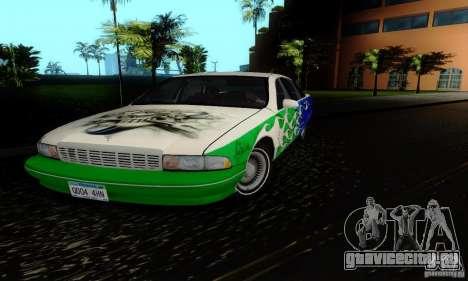 Chevrolet Caprice 1991 для GTA San Andreas вид изнутри