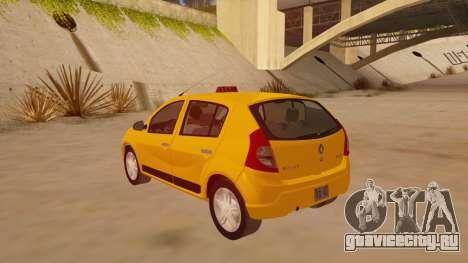 Renault Sandero Taxi для GTA San Andreas вид сзади слева