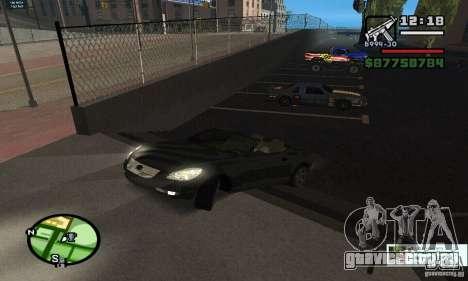 Lexus SC430 для GTA San Andreas вид изнутри