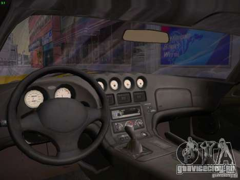 Dodge Viper 1996 для GTA San Andreas вид изнутри