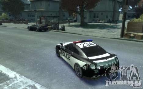 Nissan GT-R R35 Police для GTA 4 вид сзади слева