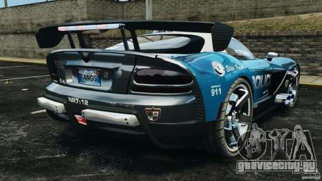 Dodge Viper SRT-10 ACR ELITE POLICE для GTA 4 вид сзади слева