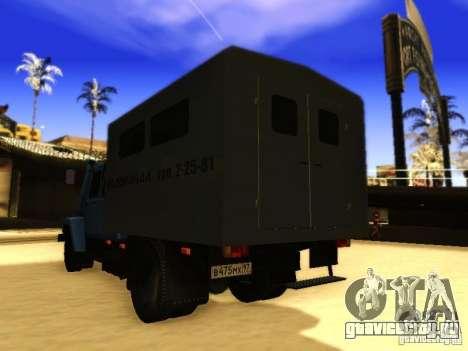 ГАЗ 3309 Двухрядный для GTA San Andreas вид изнутри