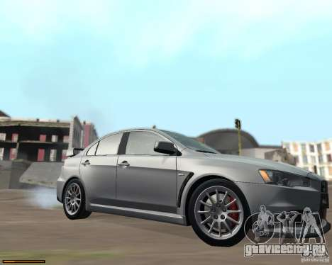 Mitsubishi Lancer Evolution X для GTA San Andreas вид изнутри