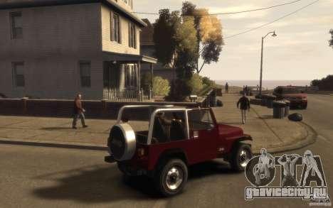 Jeep Wrangler 1986 для GTA 4 вид справа