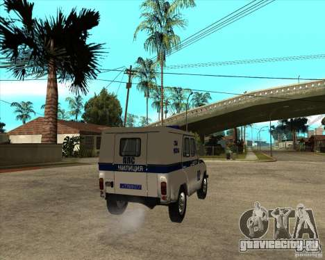 Патрульный автомобиль УАЗ 31514 для GTA San Andreas вид сзади слева