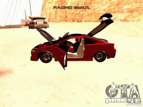 Acura RSX Drift для GTA San Andreas вид изнутри