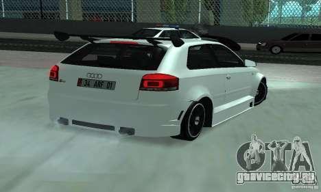 Audi S3 Full tunable для GTA San Andreas вид сзади слева