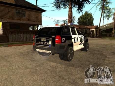 Jeep Grand Cherokee police K-9 для GTA San Andreas вид сзади слева