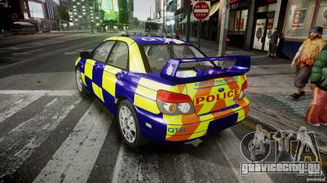 Subaru Impreza WRX Police [ELS] для GTA 4 вид сзади слева