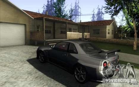 Nissan Skyline GTR R34 VSpecII для GTA San Andreas вид сзади слева