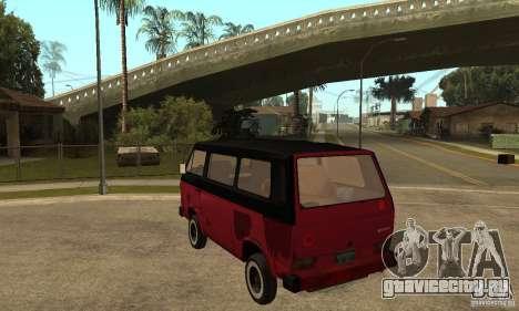 Volkswagen T3 Rusty для GTA San Andreas вид сзади слева