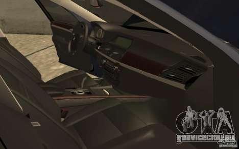BMW X5 M 2009 для GTA San Andreas вид изнутри