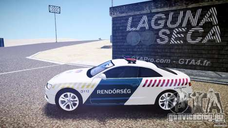 Audi S5 Hungarian Police Car white body для GTA 4 вид слева
