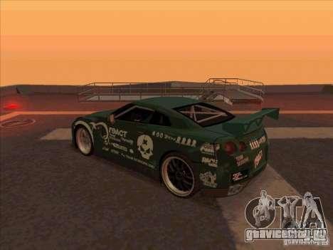 Nissan GT-R R35 rEACT для GTA San Andreas вид сзади слева