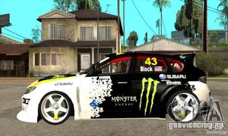 Subaru Impreza 2009 (Ken Block) для GTA San Andreas вид слева