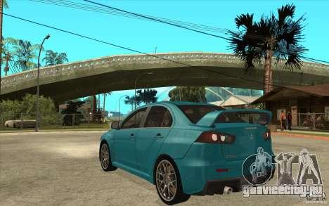 Mitsubishi Lancer Evo 2010 для GTA San Andreas вид сзади слева