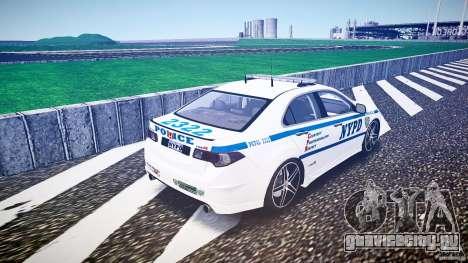 Honda Accord Type R NYPD (City Patrol 2322) ELS для GTA 4 вид сзади слева