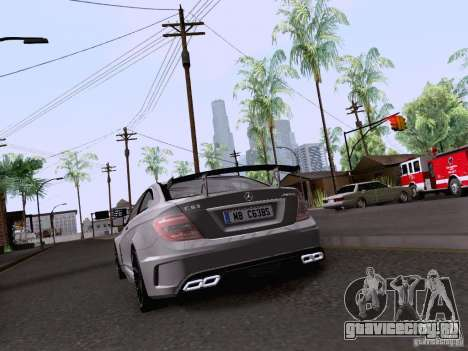 Mercedes-Benz C63 AMG Coupe Black Series для GTA San Andreas вид сзади