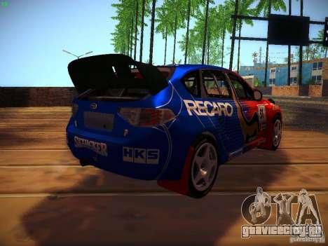 Subaru Impreza WRX STi N14 Rallycross для GTA San Andreas вид изнутри