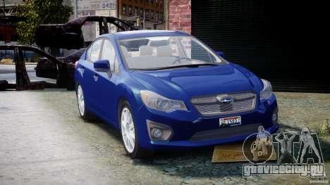 Subaru Impreza Sedan 2012 для GTA 4 вид сзади