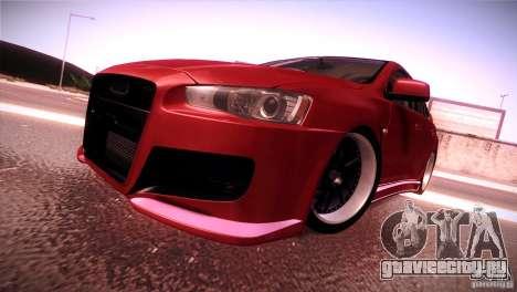 Mitsubishi Lancer Evolution X Tunable для GTA San Andreas вид сзади слева
