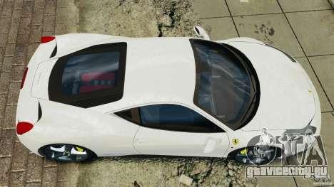 Ferrari 458 Italia 2010 v2.0 для GTA 4 вид справа