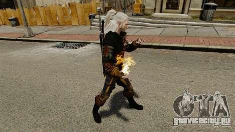 Огонь в руках Геральта для GTA 4