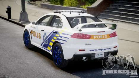 Mitsubishi Evolution X Police Car [ELS] для GTA 4 вид сбоку