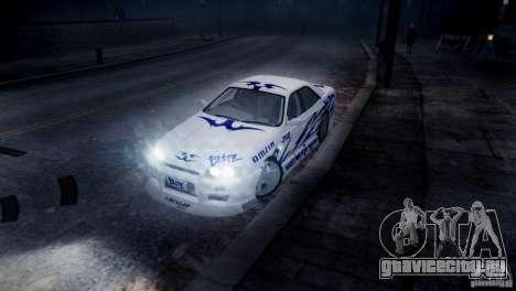 Nissan Skyline R-34 v1.0 для GTA 4 вид сбоку
