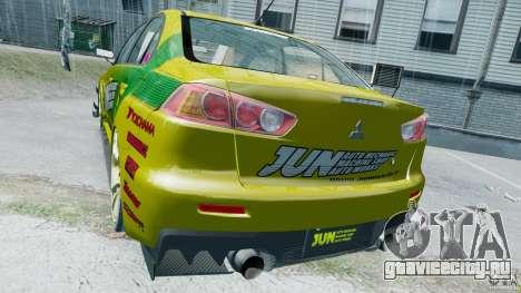 Mitsubishi Lancer X JUN для GTA 4 вид справа