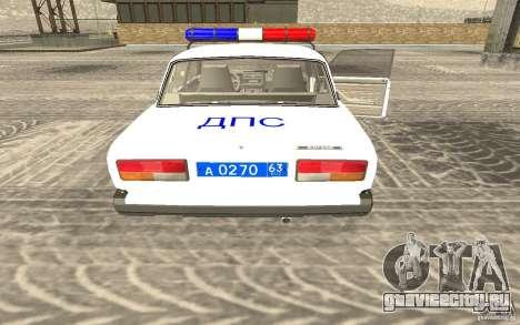Ваз 2107 ДПС Полиция Жигули для GTA San Andreas вид слева