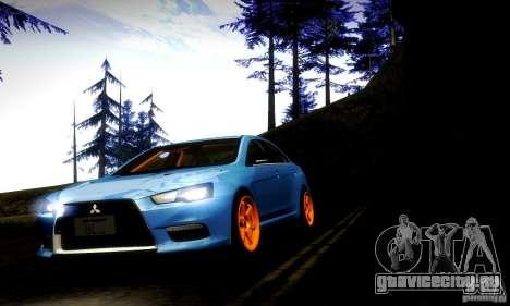Mitsubishi Lancer Evo X Tuned для GTA San Andreas вид сзади