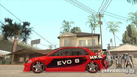 Mitsubishi Evo 8 Tuned для GTA San Andreas вид слева