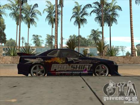 Nissan Skyline R34 VeilSide для GTA San Andreas вид изнутри