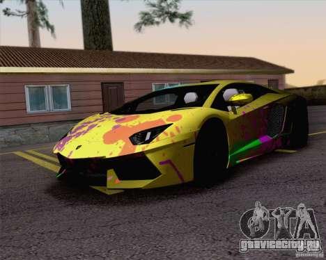 Покрасочные работы Lamborghini Aventador LP700-4 для GTA San Andreas вид сзади слева