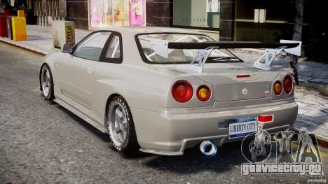 Nissan Skyline R34 Nismo для GTA 4 вид сзади слева