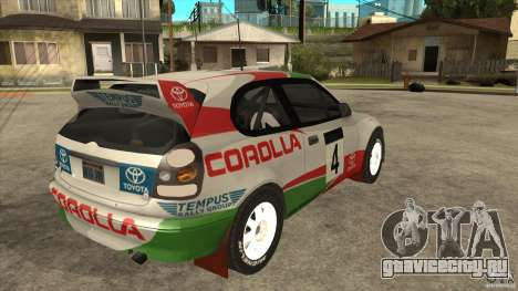 Toyota Corolla 1999 Rally Champion для GTA San Andreas вид изнутри