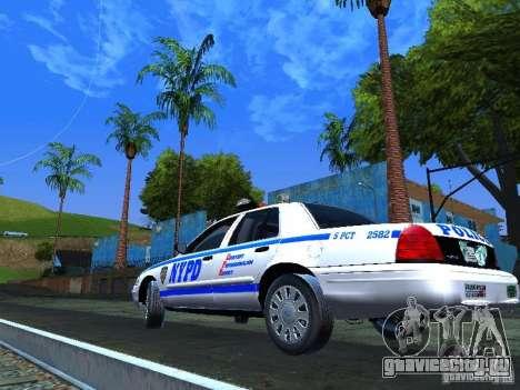 Ford Crown Victoria 2009 New York Police для GTA San Andreas вид справа
