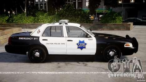 Ford Crown Victoria SFPD K9 Unit [ELS] для GTA 4 вид слева