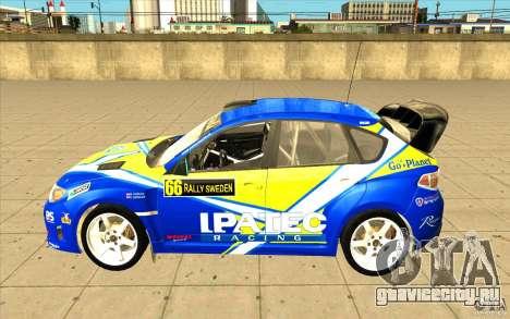Subaru Impreza WRX STi с новыми винилами для GTA San Andreas вид сверху