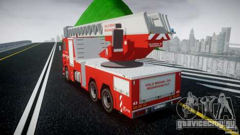 Scania Fire Ladder v1.1 Emerglights blue [ELS] для GTA 4 вид сзади слева